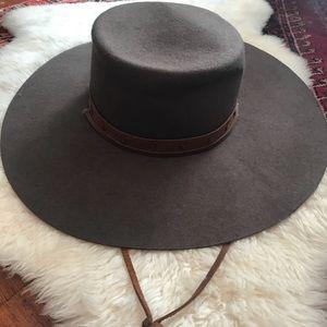 deed6fb39e427 Brixton Accessories - Brixton Vega Flat Top Wide Brim Wool Hat
